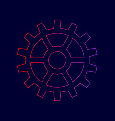 gear sign line icon with gradient from vector image
