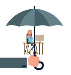 hand holding umbrella protecting woman worker vector image