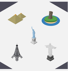 isometric architecture set of new york egypt vector image vector image