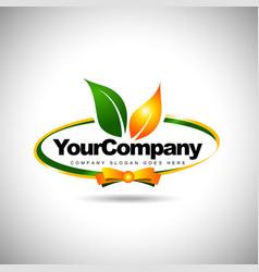 Leaf Label Logo Food vector image vector image