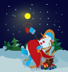 Snowman with cup vector image