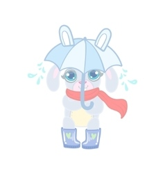 Bunny With Umbrella Under Rain vector image vector image