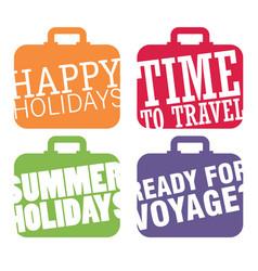 Color suitcase logo travel logo set vector