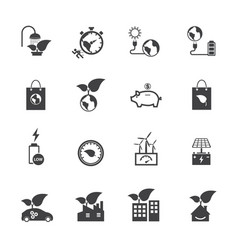 ecology and power saving icons set flat design vector image vector image