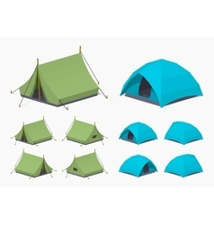 Green and sky-blue camping tents vector image