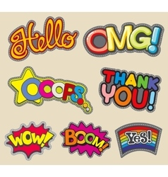 internet words embroidery stitched badges vector image