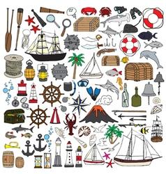 set of objects symbolizing navigation vector image vector image