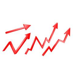 3d bright graph arrows set grow vector
