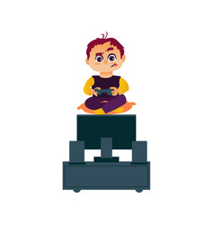 funny boy playing game console on tv with joystick vector image