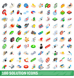 100 solution icons set isometric 3d style vector image