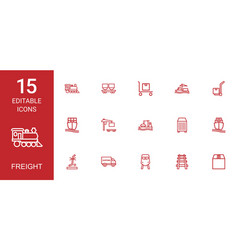 15 freight icons vector image