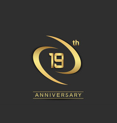 19 years anniversary logo style with swoosh ring vector
