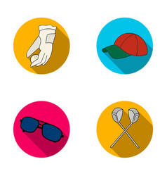a glove for playing golf with a ball a red cap vector image vector image