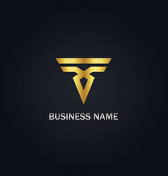 Abstract shape business gold logo vector
