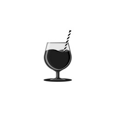 Activated charcoal in black antioxidant cocktails vector