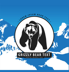 Bear in the mountains logo vector