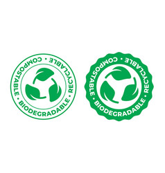 biodegradable compostable and recyclable icon bio vector image
