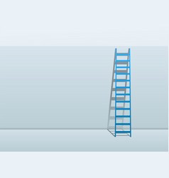 blue ladder leaning against wall background vector image
