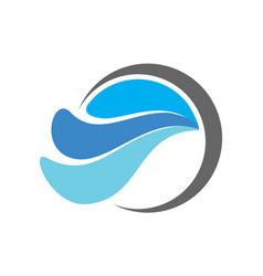 blue water waves logo icon vector image