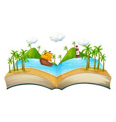 book with ocean scene vector image