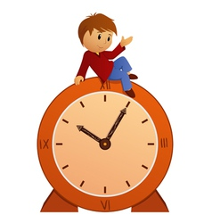 boy on clock vector image