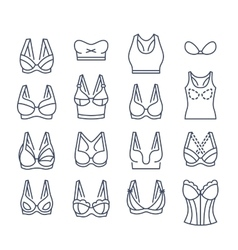 Bra design flat thin line icons set vector image