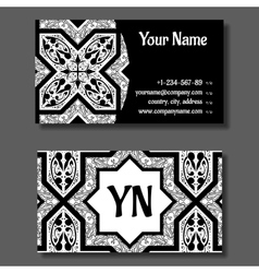 Business card template black and white vitage vector