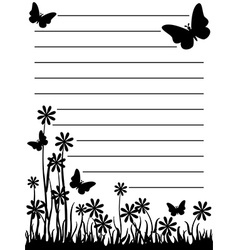 Butterfly and flower notepad vector
