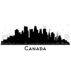 Canada city skyline silhouette with black vector