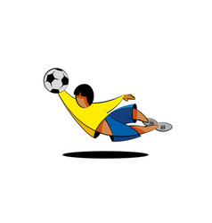 cartoon football player in yellow and blue clothes vector image
