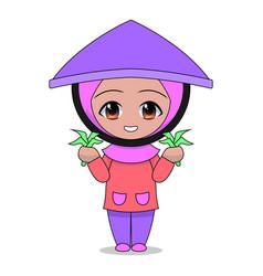 cartoons muslim women farming daily fun vector image