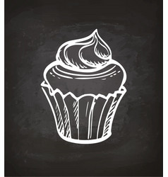 Chalk sketch cupcake vector