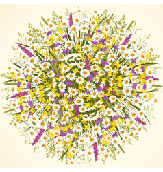 Circle with wild flowers vector image