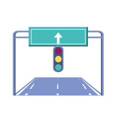 City road with traffic light scene icon vector