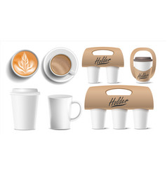 Coffee packaging cups mock up ceramic and vector