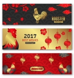 collection banners for chinese new year roosters vector image