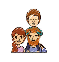 color crayon stripe caricature half body family vector image