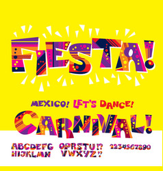 cool carnival or fiesta abc vector image