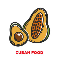 cuban food promo banner with locally grown fruits vector image