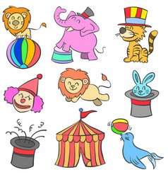cute animal circus of doodle style vector image
