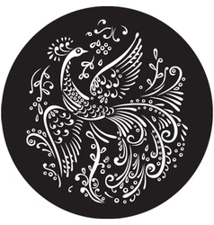 Decorative bird in circle vector