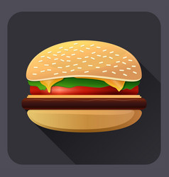 drawing of hamburger with cheese tomatoes vector image