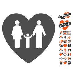 family love heart icon with valentine bonus vector image
