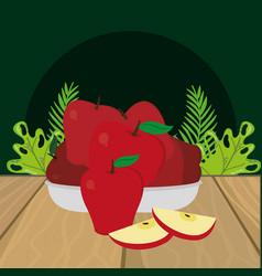 fresh fruits apples cartoon vector image