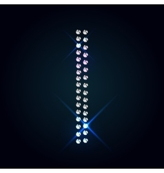 Gems i letter shiny diamond font vector