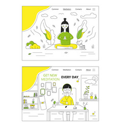 girl is doing yoga and meditate in a park woman vector image
