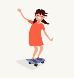 Girl is riding a skateboard vector