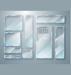 glass transparent plates set glass modern vector image vector image