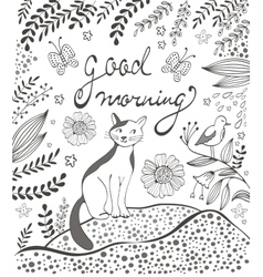Good morning card with cute hand drawn cat sitting vector