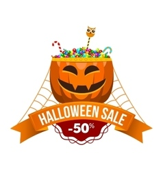 Halloween Sale Logo or Label vector image